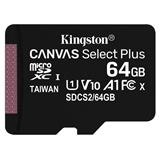 64 GB . microSDXC karta Kingston Canvas Select Plus Class 10 (r/w 100MB/s) bez adaptéra