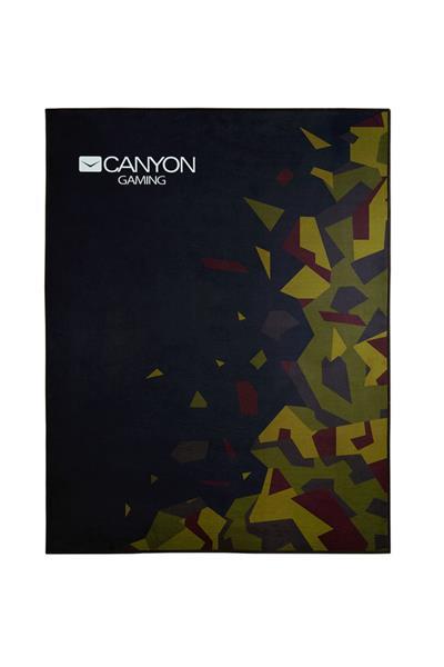 Canyon CND-SFM02 podložka na podlahu pod herné kreslo, polyester, protišmyková, 100x130cm, čierna - kamufláž