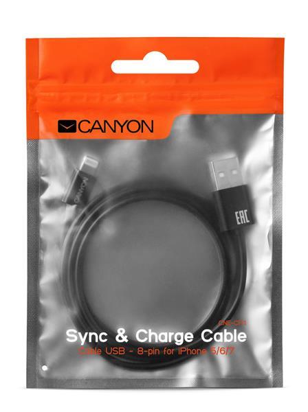 Canyon CNE-CFI1B, 1m kábel Lightning/USB, bez Apple certifikácie MFi, čierny