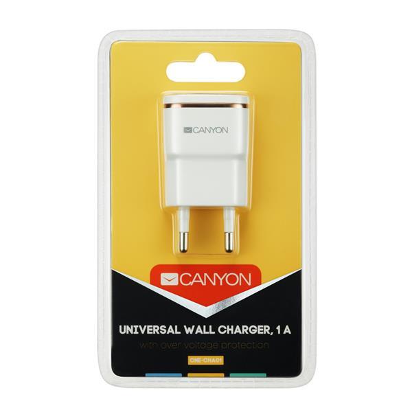 Canyon CNE-CHA01WR, univerzálna nabíjačka do steny, 1x USB, 5V/1A, ochrana proti prepätiu, biela
