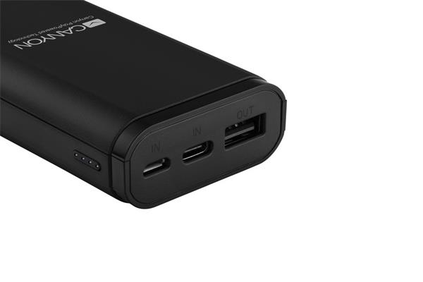 Canyon CNE-CPB010B Powerbank, polymérová, 10.000 mAh, 1 x USB výstup, micro USB/USB-C vstup, Smart IC, kompaktná, čierna