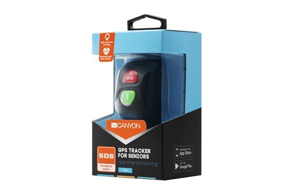 Canyon CNE-ST01BB smart náramok pre seniorov, GPS tracker, SOS tlačidlo, vodotesné IP67, SIM, GSM, 16KB RAM, 512KB ROM,