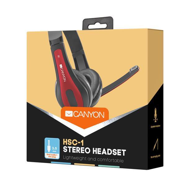 Canyon CNS-CHSC1BR, PC Headset, slúchadla s mikrofónom, 1 x 3.5mm jack komb., ovládanie na kábli, 2 m, čierno-červené