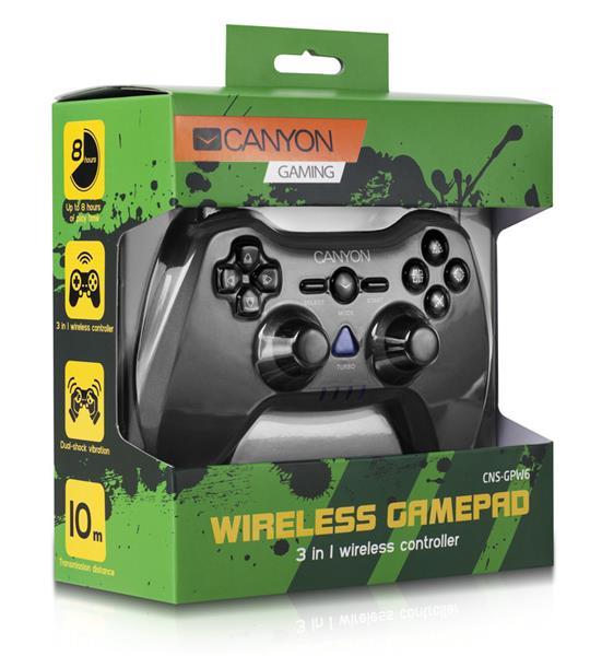 Canyon CNS-GPW6 Gamepad 3v1, bezdrôtový do 10m, až 8 hod výdrž, dual-shock vibrácie, pre PC/PS2/PS3