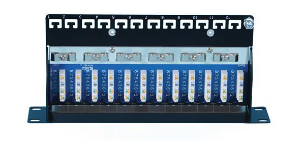 "CNS 10"" patch panel 12port Cat6, FTP, blok 110, vyväz. lišta, 1U čierny"