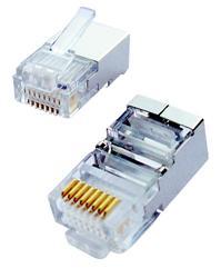 """CNS tienený konektor Cat5E, STP RJ45-8p8c,15µ"""" Au, drôt, (100ks)"""