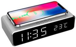 Gembird digitálny budík s funkciou bezdrôtovej nabíjačky pre smartfóny, strieborný