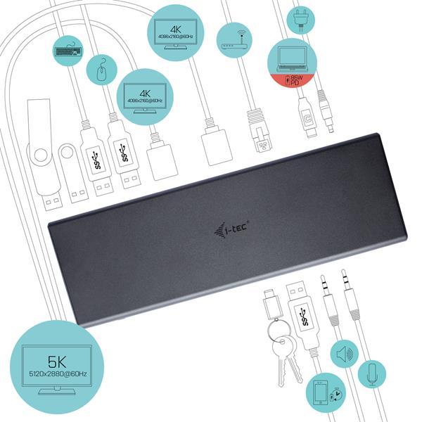 i-tec USB 3.0 / USB-C 5K Univerzální dualní dokovací stanice, 2x 4K 60Hz video + Power Delivery 85W