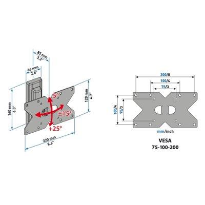 Meliconi CME TILT ROTATION ETR 120VESA 200x100 tilt & rotation