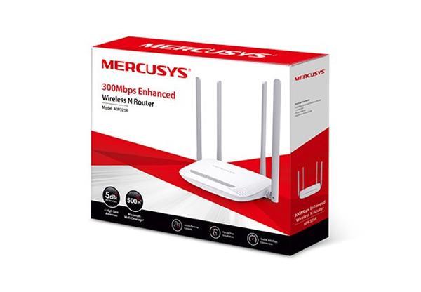 MERCUSYS MW325R 300Mbps Wireless N Router, Qualcomm, 2T2R, 2.4GHz, 802.11b/g/n,1 10/100M WAN+4 10/100M LAN, 4 fix.ant.
