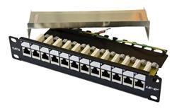 """OEM 10"""" patch panel 12port Cat6, FTP, blok UNI-110, vyväz. lišta, 1U čierny"""