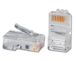 """OEM konektor RJ45-8p8c,50µ"""" Au, drôt, Cat5, UTP (100ks)"""