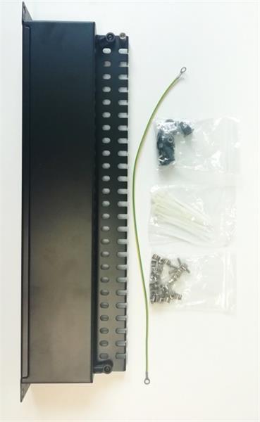 patch panel 24port Cat6A, STP, blok 110, vyväz. lišta, 1U čierny