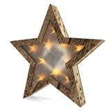 Solight LED drevená vianočná hvezda, 3D efekt svetla, 3x AA, teplá biela