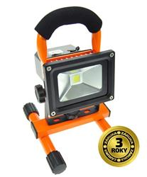 Solight LED reflektor, 10W, prenosný, nabijací, 700lm, oranžovo-čierny