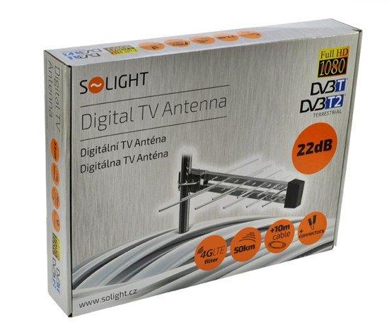 Solight vonkajšia DVB-T anténa, 22dB, UHF, 21. - 60. kanál, LTE/4G filter