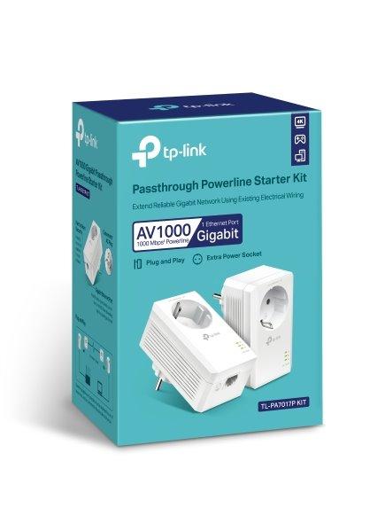 """TP-LINK """"AV1000 Gigabit Passthrough Powerline Starter KitSPEED: 1000 Mbps PowerlineSPEC: Broadcom CPU, HomePlug AV2, 1"""