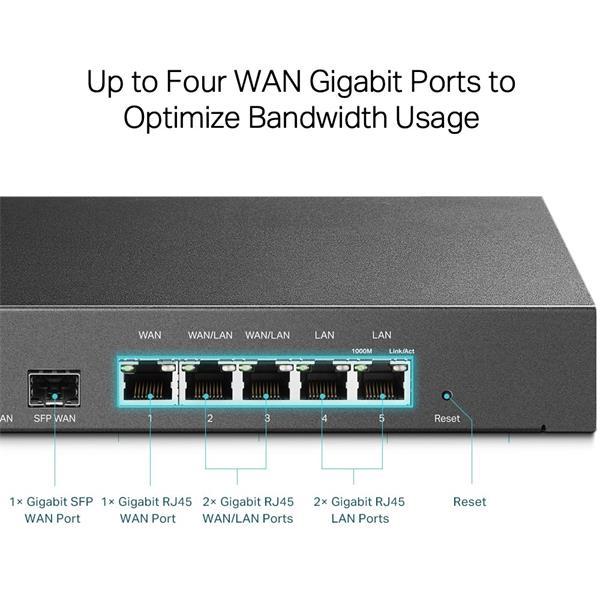 "TP-LINK ""SafeStream™ Gigabit Multi-WAN VPN Router PORT: 1× Gigabit SFP WAN Port, 1× Gigabit RJ45 WAN Port, 2× Gigabit W"