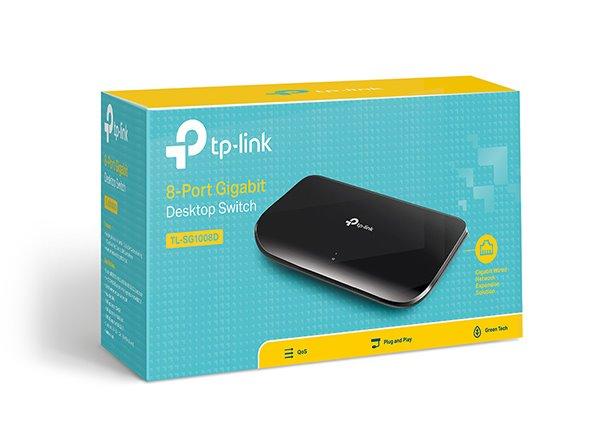 TP-LINK TL-SG1008D 8-Port Gigabit Desktop Switch, 8 Gigabit RJ45 Ports, Desktop Plastic Case